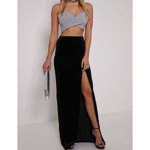 Black maxi skirt Side spilt